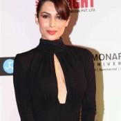 Malaika Arora Khan in Black Evening Gown Dress at Femina Miss India 2014