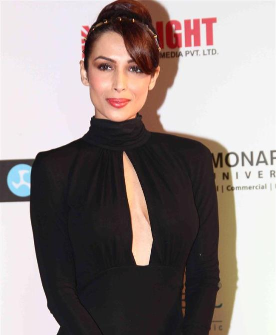 Malaika Arora Khan in Black Evening Gown Dress at Femina Miss India 2014