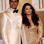 Aishwarya Rai in Gold Anarkali Dress at Amitabh Bachchan Birthday Party