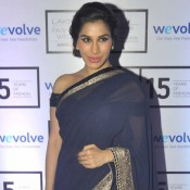 Sophie Choudhary in Blue Lehenga Saree at Lakme Fashion Week 2015