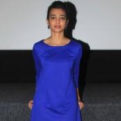 Hunterrr Movie Press Conference Photos 2015 – Radhika Apte in Blue One Piece Dress