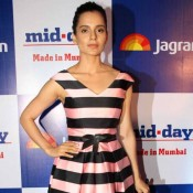 Kangana Ranaut in Black and Pink Topshop Dress at MidDay Newspaper's Relaunch Party