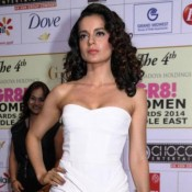 Kangana Ranaut in White off Shoulder Gown at GR8 Women's Awards 2014
