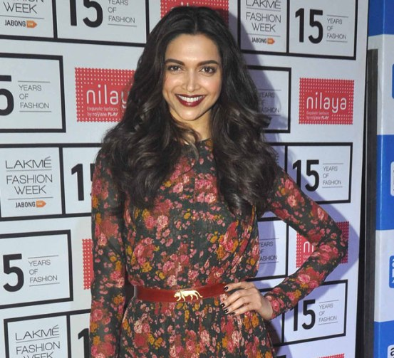 Deepika Padukone in Floral Gown at Lakme Fashion Week Summer Resort 2015