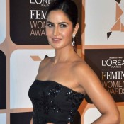 Katrina Kaif in Black Strapless Gown at L'Oreal Paris Femina Women Awards 2015