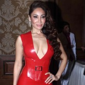 Sofia Hayat in Red One Piece at Mahurat of Six X Hindi Movie