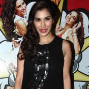 Sophie Chaudhary Hot in Black Leather Mini Skirt at Main Tera Hero Success Bash Party