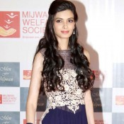 Diana Penty in Navy Blue Anarkali Dress at Men of Mijwan Fashion Show 2014