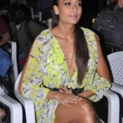 Lisa Haydon Deep Cleavage and Hot Legs Milky Thigh Pics in Yellow Dress at Queen Music Launch