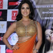 Sunny Leone Hot in Orange Saree at Ragini MMS 2 success Bash Celebration