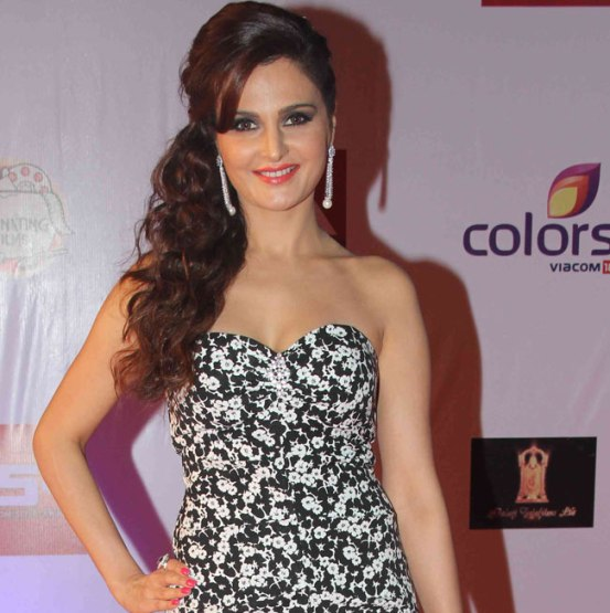 Monica Bedi in Printed Off Shoulder Gown at Television Style Awards 2015