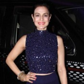 Ameesha Patel in Navy Blue Lehenga at Tulsi and Hitesh Wedding Reception