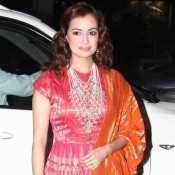 Dia Mirza in Pink Anarkali Dress at Tulsi Kumar and Hitesh Ralhan Wedding Reception