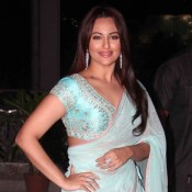 Sonakshi Sinha in Sky Blue Lehenga at Tulsi Kumar and Hitesh Ralhan Wedding Reception