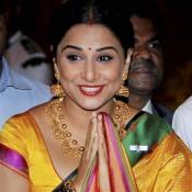 Vidya Balan in Yellow Saree with Stunning Gold Jewellery at Receive Padma Shri Awards 2014