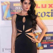 Sonal Chauhan in Black Cut Out Gown at Zee Cine Awards 2014