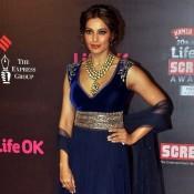 Bipasa Basu in Biue Dress – Hot Photos in Traditional Blue Anarkali Dress at life OK Screen Awards 2014