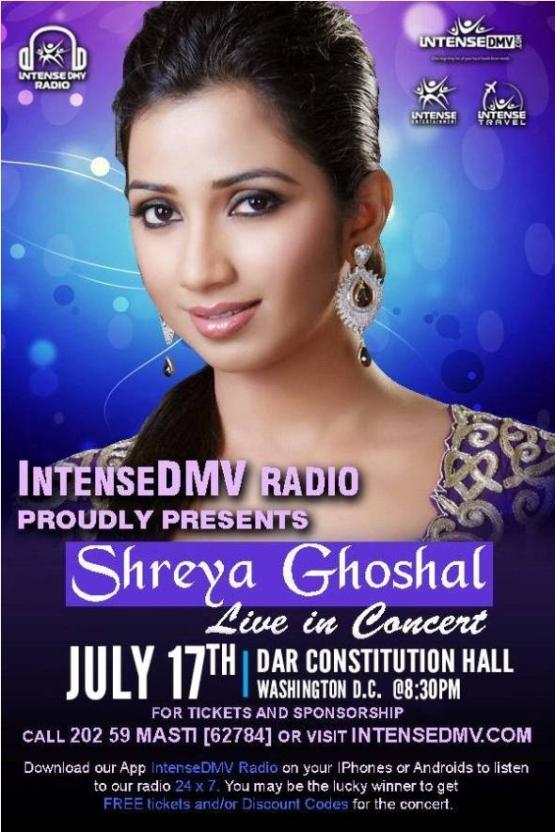 InetenseDMV Radio Present Shreya Ghoshal Live In Concert Washington – July 2015 at DAR Constitution Hall