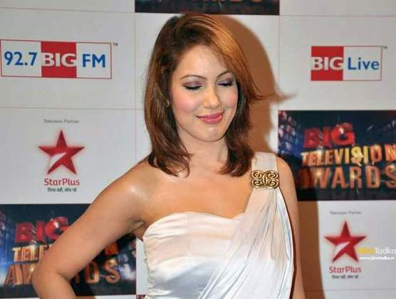 Munmun Dutta in Short off Shoulder Dress Images at Big Television Awards
