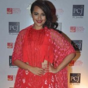 Sonakshi Sinha in Red Lehenga Dress at 5th Annual Mijwan Fashion Show