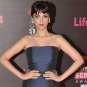 Adti Rao Hydari Hot Armpits Pics in Navy Blue Evening Gown at Life OK Screen Awards 2014