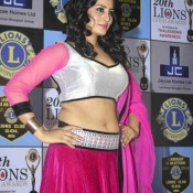 Arjumman Mughal Hot Navel Show Pics in Pink Lehenga at 2014 Lions Gold Awards
