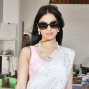 Divya Khosla in White Saree At Yaariyan Movie Promotion Photos
