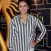 Huma Qureshi in Womens Black And White Vertical Striped Shirt at IIFA 2015 Press Meet