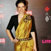 Kalki Koechlin in Saree – Hot Pics in Black Blouse Golden Saree at Life OK Screen Awards 2014
