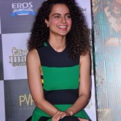 Kangana Ranaut in Black & Green Horizontal Striped Dress at Tanu Weds Manu Returns Movie Trailer Launch Event
