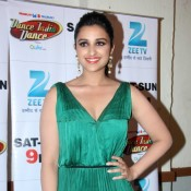 Parineeti Chopra in Green Evening Gown Showing Deep Cleavage and Hot Bare Chest