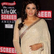 Raveena Tandon in White Transparent Blouse See Through Designer Saree at the 20th Annual LIFE OK Screen Awards 2014