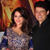Madhuri Dixit in Blue Anarkali Churidar Dress at Dedh Ishqiya 2014 Premiere Show