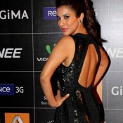 Hot Sophie Chaudhary in Black Backless Gown at GIMA Awards 2014