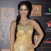Sunny Leone Hot Cleavage Pics in Golden Gown at Star Guide Awards 2014 Hot Photos