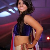 Tanisha Mukherjee Hot Navel Pics Cute Armpit Show in White Purple Designer Lehenga Choli