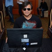Vivek Oberoi in Black Formal T-Shirt and Goggles Cool Look at IIFA 2015 Press Meet