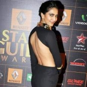 Vaani Kapoor at Star Guide Awards 2014 in Black and Gold Combination Saree Gown Hot Images