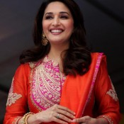 Madhuri Dixit in Orange Suit at Gulaab Gang Music Launched Photos