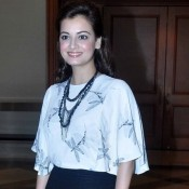 Dia Mirza in Black Pencil Skirt with White Designer Top at IIFA 2015 Press Meet