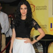 Amyra Dastur in Mini Skirt at Promotion of Mr X Movie