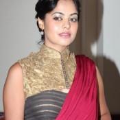 South Actress Bindu Madhavi Hot Armpit Pics in Maroon Saree At V4 Entertainers Film Award 2014
