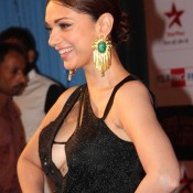 Aditi Rao Hydari Cleavage Show in Black Dress at Big Star Entertainment Awards 2013