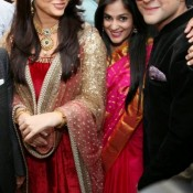 Aishwarya Rai in Red Anarkali Dress Velvet Suit at Dubai for Kalyan Jewellers Showroom Inauguration Photos