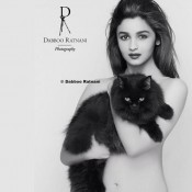Alia Bhatt Bold Pics Topless Photos with Cat at Dabboo Ratnani 2014 Calendar