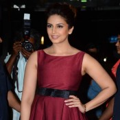Huma Qureshi in Sleeveless Maroon One Piece Dress at The Dada Saheb Phalke Awards 2015