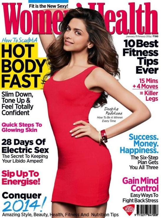 Deepika Padukone Cover Photos for Womens Health Magazine January 2014 Edition