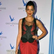 Famous Indian Model Mugdha Godse in Red and Black Evening Gown at Grey Goose Style Du Jour Award