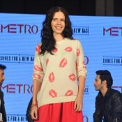 Kalki Koechlin in Mini Red Skirt Photos – Hot Legs Milky Thighs Pics at METRO Shoes Campaign