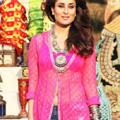 Kareena Kapoor in Transparent Pink Kurti Dress in Gabbar Is Back Hindi Movie 2015